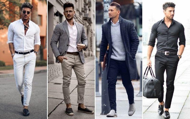 Hombre con pantalones de vestir y chinos