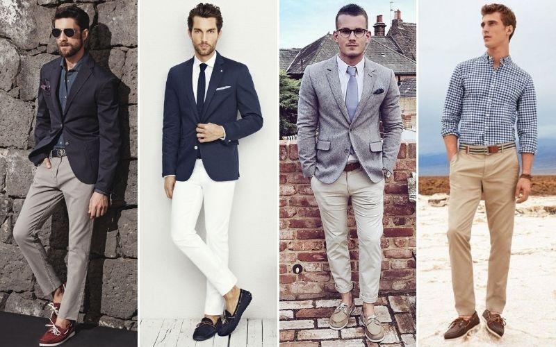 Hombres con pantalones de material de lana